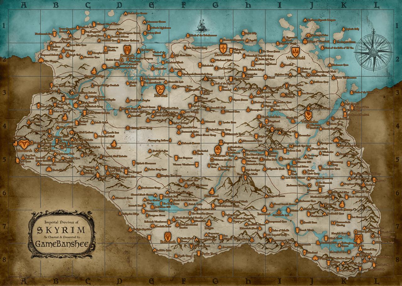 نقشه ی استفاده شده در بازی The Elder Scrolls V: Skyrim